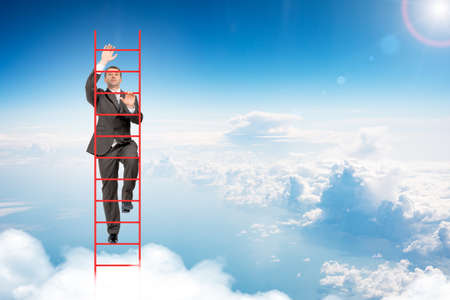 councilor: Businessman climbing ladder on blue sky background Stock Photo