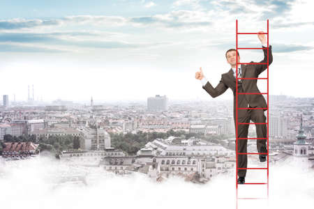 councilor: Smiling businessman climbing ladder on blue sky background