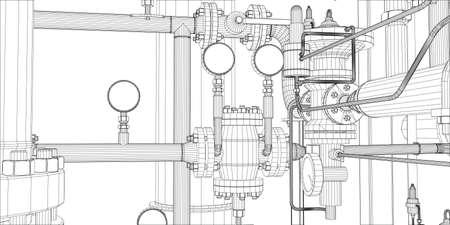 Ilustracja wyposażenie dla systemu grzewczego na białym tle, frontowy widok Ilustracje wektorowe