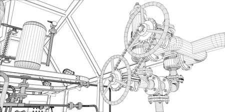 Ilustracja wyposażenie dla systemu grzewczego z drążkami na białym tle Ilustracje wektorowe