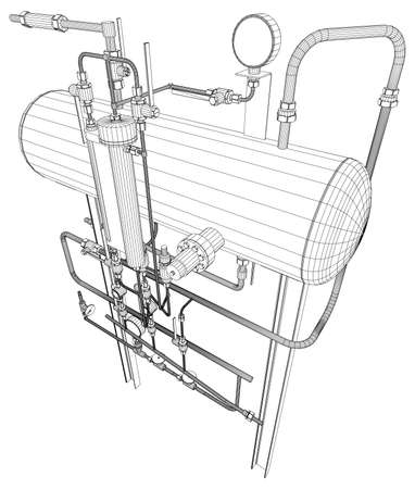 exchanger: Scetch of heat exchanger on white background