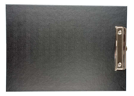 subscribing: Black folder on isolated white background, closeup Stock Photo