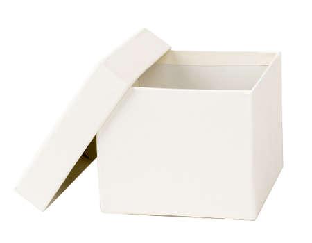 package sending: Open white carton box on isolated white background Stock Photo