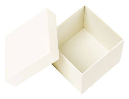 package sending: Open empty white carton box on isolated white background, closeup Stock Photo