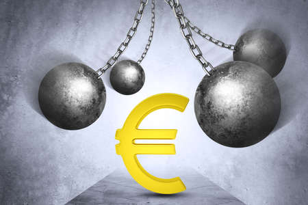 restraining device: Ball and chain with euro dollar sign