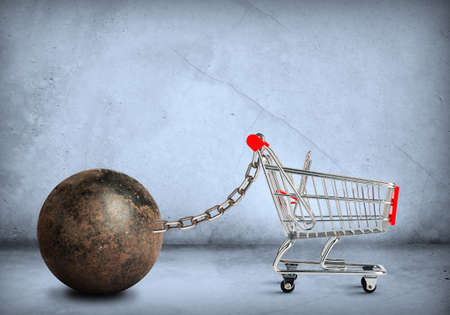 restraining device: Iron ball with empty shopping cart, closeup