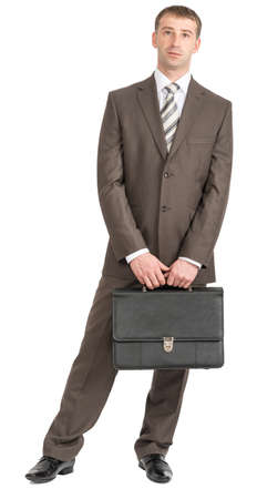 councilor: Happy businessman standing with suitcase and looking at camera on isolated white background