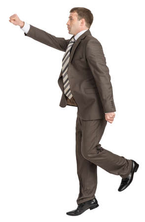 councilor: Businessman fist forward on isolated white background