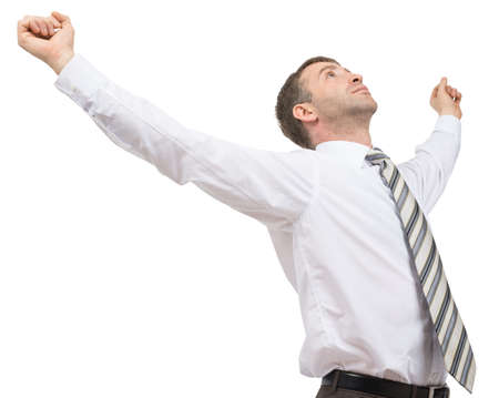 councilor: Young businessman enjoing success on isolated white background, side view Stock Photo