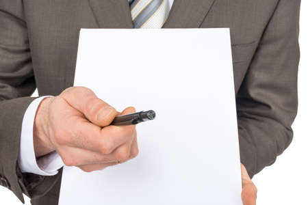 councilor: Businessman offering to sign up blank paper on isolated white background Stock Photo