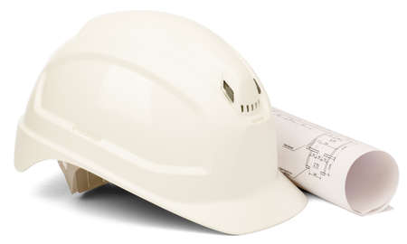 blue print: Helmet with blue print isolated on white background