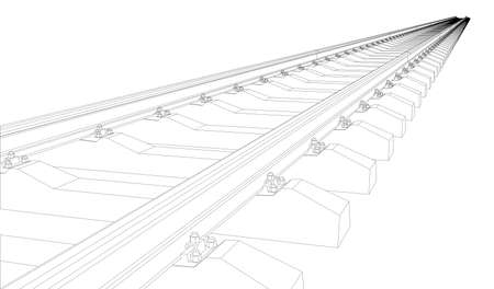 Railway picture on white background. Vector illustration