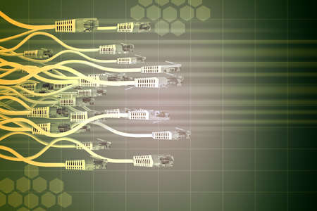 patch panel: Abstract green background with computer cables and world map Stock Photo