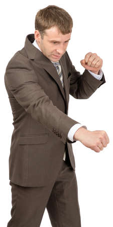 succesful: Businessman as succesful fighter on isolated white background