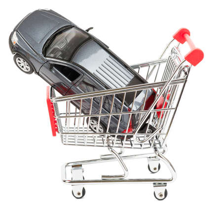 shopping cart isolated: Car in shopping cart isolated on white background, side view