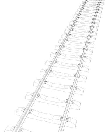 sleeper: Railway picture on white background. Vector illustration