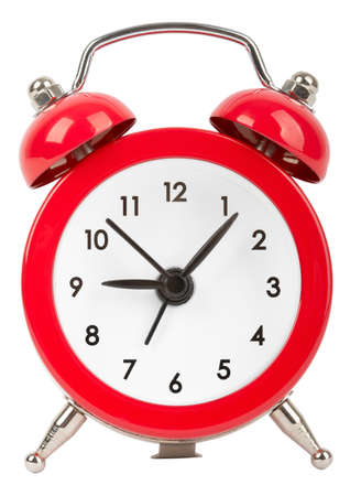 minute hand: Red alarm clock isolated on white backgound Stock Photo