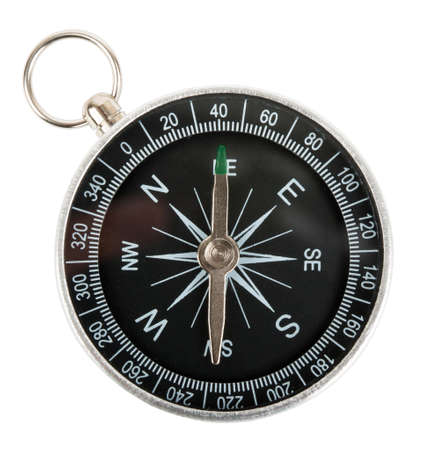 north arrow: Compass isolated on white background, close up view Stock Photo