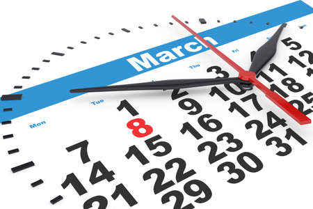 up to date: Calendar with clock with march date, close up view Stock Photo