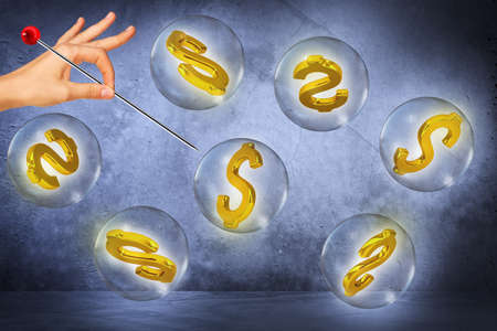 blow out: Word dollar signs in bubbles and female hand with needle try to blow out bubbles on grey background