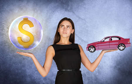 busineswoman: Busineswoman holding dollar sign in big bubble and caron grey background