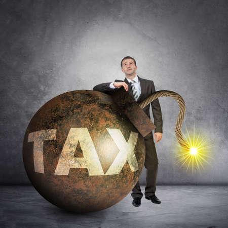 wick: Businessman with big tax bomb with lighting wick
