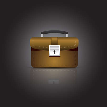 business briefcase: Brown business briefcase with lock. Vector illustration