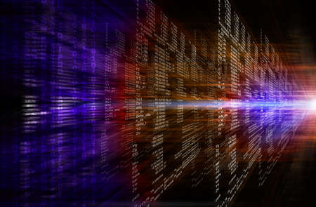 Binary computer code. Matrix red and purple abstract background 写真素材
