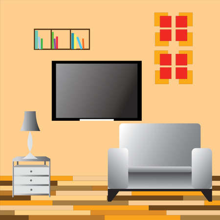 livingroom: Interior view of room with TV, vector illustration