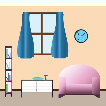 livingroom: Interior view of room with window, vector illustration