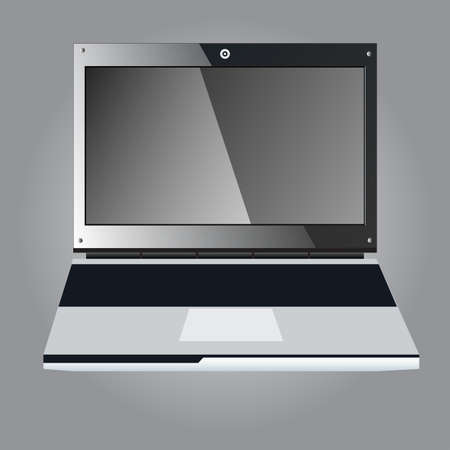 laptop screen: Open black laptop with blank screen, vector illustration
