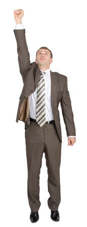 arm up: Businessman with arm up and looking up isolated on white background