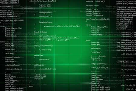 Green binary code on dark background. Computer concept