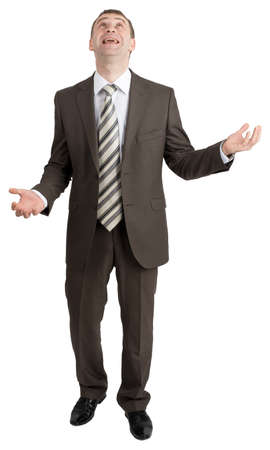 juggling: Businessman juggling invisible things and looking up isolated on white background