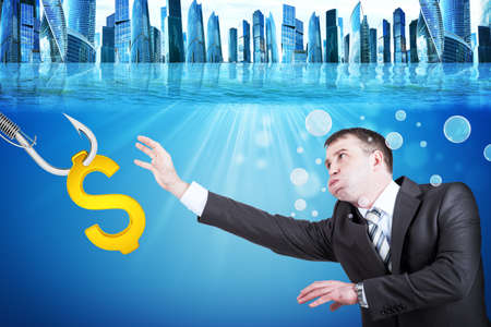 inflated: Businessman with inflated cheeks under water with hook and golden dollar sign