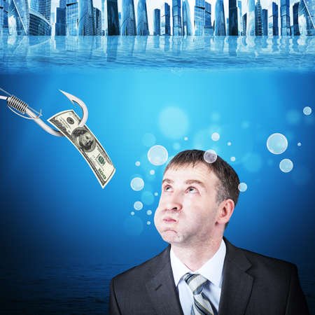 inflated: Businessman with inflated cheeks under water with hook and dollars Stock Photo