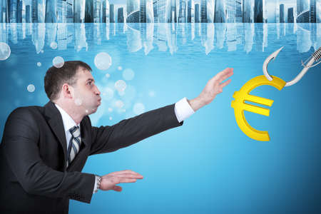 the cheeks: Businessman with inflated cheeks under water with hook and euro sign