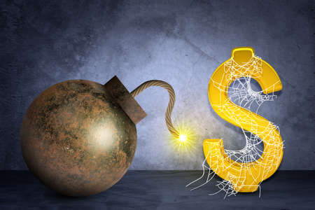 spider net: Golden dollar sign with bomb in spider net on grey background Stock Photo