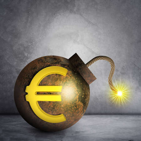 ignited: Bomb with euro sign and ignited fuse on grey wall background