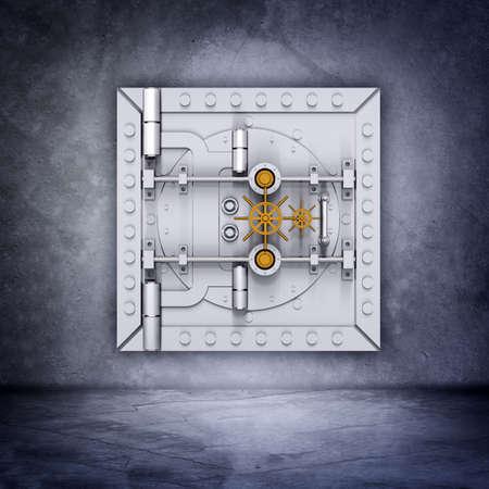 caja fuerte: puerta de b�veda de banco met�lica en el fondo gris de la pared