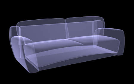 furnish: Sofa xray on black background, close up view