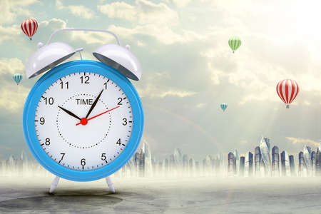 minute hand: Blue alarm clock on abstract background with city and balloons