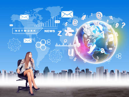 businesswoman skirt: Businesswoman in chair on abstract background with world map and city. Elements of this image furnished by NASA