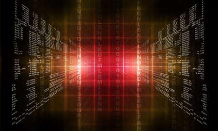 Binary Computer-Code. Matrix rot abstrakten Hintergrund Standard-Bild - 51961217