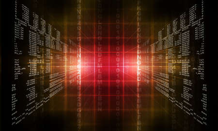 Binary computer code. Matrix red abstract background