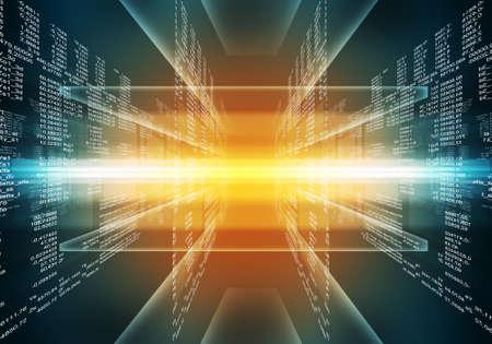 バイナリのコンピューター コード。マトリックスの青と赤の抽象的な背景