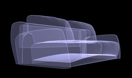 furnish: Sofa xray on black background, side view