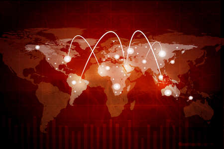 red background: Abstract red background with world map and lightspots Stock Photo