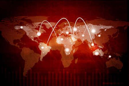fondo rojo: Resumen de fondo rojo con el mapa y lightspots mundo