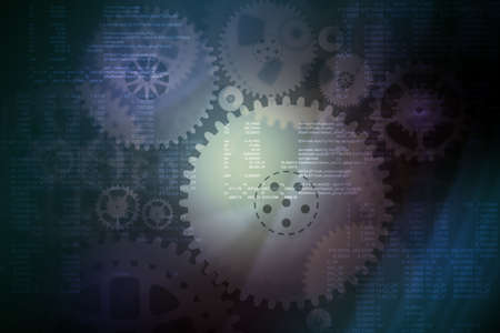 Abstract colorful background with machinery gears and numbers